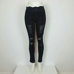 Denim - High Rise Skinny Jeans Black distressed